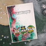 """Weihnachtskarte """"Eulen - Allerfröhlichster Weihnachtsgruß"""""""