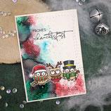 """Weihnachtskarte """"3 Eulen - Frohes Weihnachtsfest"""""""