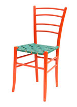 Red Lacquer Ladderback Side Chair