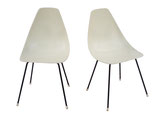 Midcentury Fiberglass Shell Chairs in Parchment