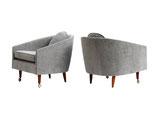 Midcentury Scoop Armchairs, pair