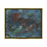 Blue and Red Abstract Painting in Gold Frame