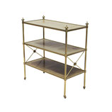 Petite Leather-Lined Brass Etagere or Bookshelf by Baker