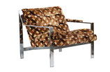 Cy Mann Chrome Flatbar Lounge Chair in Basketweave Velvet