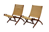 Wegner-Style Rope Seat Folding Chairs, pair #1