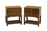 Pair of Campaign Nightstands by Hickory Furniture