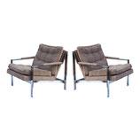 Flatbar Lounge Chairs after Milo Baughman, pair
