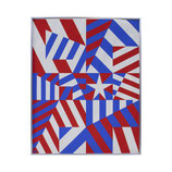 Red, White, and Blue Geometric Print by Norman Ives