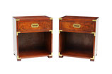 Pair of Burl Campaign Nightstands by Hekman