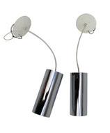Pair Cylindrical Chrome Pendants by Lightolier