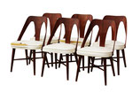 Midcentury Walnut Dining Chairs by Lawrence Peabody for Richard Nemschoff, s/6