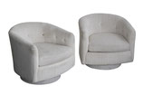 Swivel Armchairs after Milo Baughman, pair