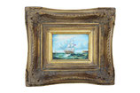 Antique Oil Painting of a Seafaring Ship in Biggs & Sons Frame