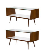 Pair of Midcentury Modern Walnut and Glass Display Cases