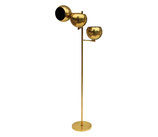 Koch + Lowy Adjustable Three Globe Polished Brass Floor Lamp