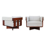 Exceptional Solid Walnut Architect Chairs, pair