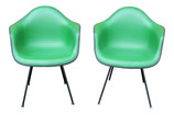 Pair of Eames Arm Shell Chairs in Green