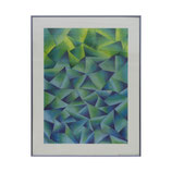 Geometric Pastel Drawing in Greens and Blues