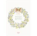Carte Couronne Belle Année Mimosa * Pailletée or