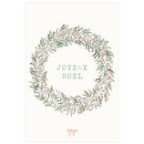 Carte Couronne Joyeux Noël feuillages