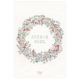 Carte Couronne Joyeux Noël baies rouges