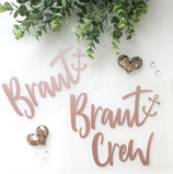 """Bügelbild """"Braut"""" oder """"Braut Crew"""" für den JGA - Design """"Ankerschrift"""""""