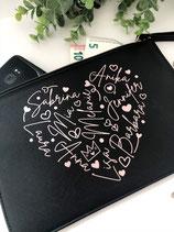 Personalisierte Clutch mit euren Namen in Herzform