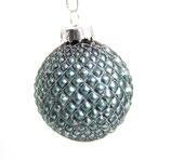 kleine blau/türkis/Glitzer Weihnachts-Glaskugel