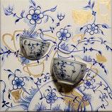 Kaffeezeit blau weiß Öl auf Leinwand 30x30cm