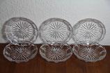 6er Set Bleikristall Dessertteller Sonnenmuster Kristallglas
