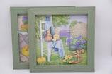2er Set dekorative 3D Bilder in grünem Holzrahmen Landhausstil Rico Design