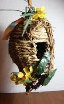 Vogelhaus aus Korb geflochten Deko Vogelnest Vogelkorb