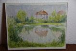 kleines gerahmtes Aquarell Herrenhaus 1999 von Esprung