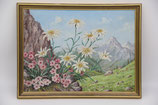 Ölbild Alpenblumen Edelweiß und Grasnelken Alpenlandschaft 1984 in goldfarbenem Holzrahmen 32,5x42,5cm