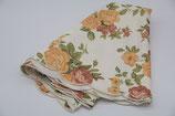 große runde Tischdecke weiß mit orange grün rot Rosenmuster