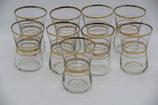 9er Set Schnapsgläser Shots goldene Streifen Goldrand Likörgläser
