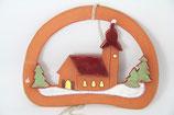 Fensterbild Keramik Weihnachten Kirche im Schnee Handarbeit Wandbild