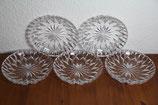 5er Set Bleikristall Dessertteller Blume Kristallglas