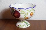 Keramikschale auf Fuß Obstschale Früchte handbemalt