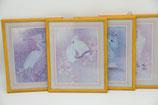 4er Set romantische Vogelmotive grau rosa violette lila Schwäne Reiher Ara Pfau gerahmt