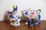 Perlmutt glänzend rosa blau Tierfigur Delphine bzw. Elefant