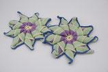 gehäkelte Topflappen Blume Untersetzer Handarbeit blau weiß grün