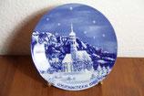 Porzellan-Wandteller Sammelteller Weihnachten 1989 SA Coloman Schloß Neuschwanstein Echt Kobalt