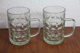 2er Set Bierkrug Bierseidel Bembel Glas mit großen Kreisen leicht grünlich 0,5L
