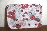 Melamin Tablett weiß mit lila rosa Blumen Käfer