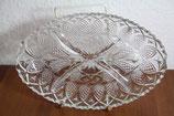 Servierplatte Glasteller mit 4er Unterteilung Vorspeisenteller oval Sternmuster