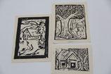 Linolschnitt Drucke Wintermotive Haus Baum Haus am Berg Bilder