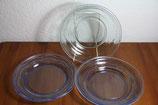 Pressglas Teller grün blau Glas leichte Prägung