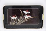großes japanisches Tablett schwarz mit rot weißen Blumen Lacktablett