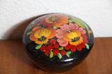 alte handbemalte schwarze Lackdose Holzdose Blumen